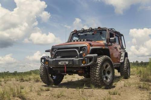 Rugged Ridge, 11544.09 - Spartacus Front Bumper Kit, Satin Black; 07-18 Jeep Wrangler JK