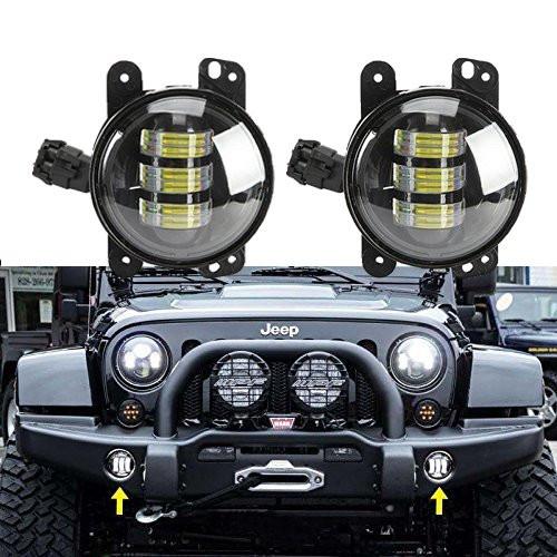 Pair 4 Inch Round Led Fog Lights 30W Projector lens White Beam Driving Led Fog Lights for Jeep Wrangler Jk