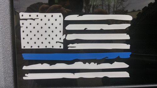 Blue Line Weathered Flag Decal