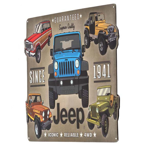 JEEP EMBOSSED TIN SIGN IONIC, RELIABLE,4WD