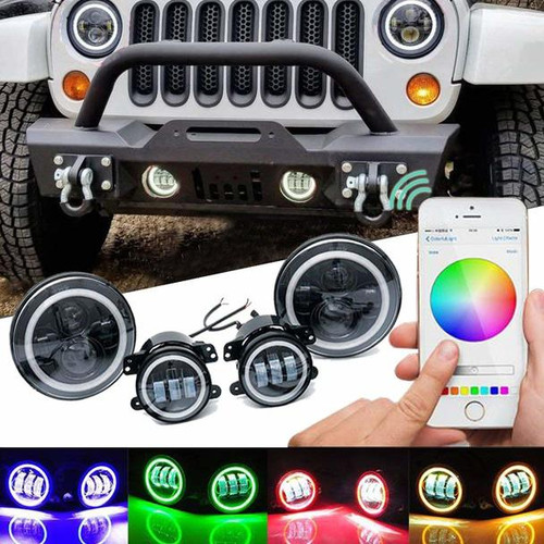 Halo LED Headlight and Fog Light Kit with Free Rock Lights Promo Jeep JK, TJ, CJ