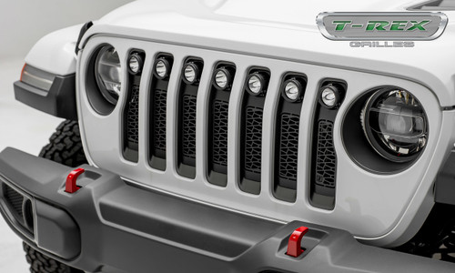 Jeep JL LED Light Grille 7) 2 Inch Round LED Lights Black Powercoat Mild Steel ZROADZ Series T-REX Grilles