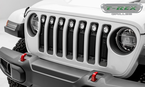 Jeep JL LED Light Grille 2 Inch Round LED Lights Black Powdercoat Mild Steel W/Black Studs Torch Series T-REX Grilles