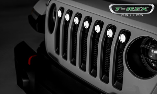 Jeep JL LED Light Grille 2 Inch Round LED Lights Black Powdercoat Mild Steel No Chrome Studs Torch Series T-REX Grilles