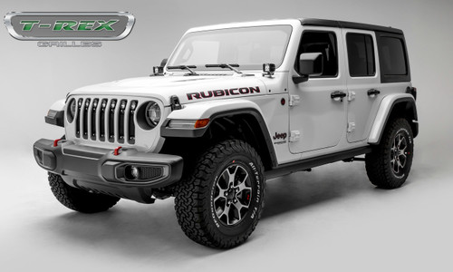 Jeep JL LED Light Grille 2 Inch Round LED Lights Black Powdercoat Mild Steel W/Chrome Studs Torch Series T-REX Grilles
