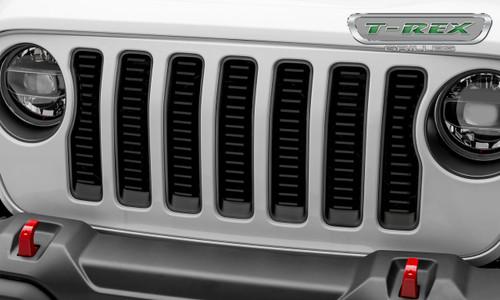 Jeep JL Laser Billet Grille Insert Horizontal 2018 Wrangler JL Aluminum Black Powdercoat Billet Series T-REX Grilles