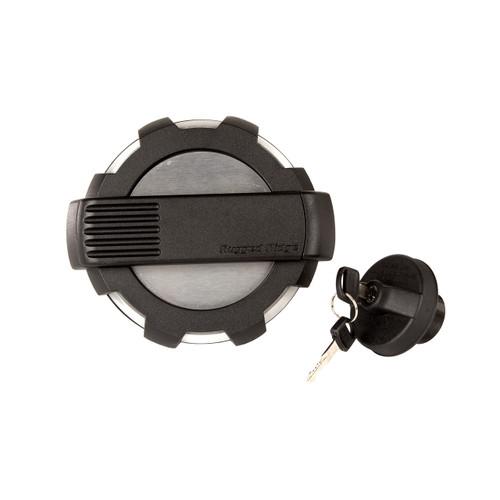 Elite Gas Cap Door Kit, Locking, Brushed, Aluminum; 07-18 Wrangler JK