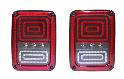 6x8 Inch 25 Watt Jeep JK Redout Tail Light Tempest Series Quake LED
