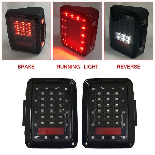 Jeep Wrangler Rear LED Lights, Jeep Wrangler LED Tail Lights, Jeep Tail Light, Jeep JK Tail Lights, Jeep Led Tail Light, Jeep Rear Lights, With Brake Light & Reverse Light, JK JKU 2007 - 2018