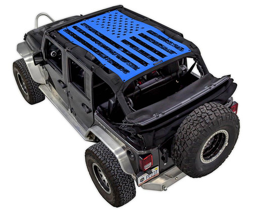 SpiderWeb Shade Jeep JK 4D Tactical Flag Distressed