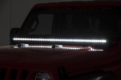 Jeep 50-inch LED Hood Kit 18-19 Wrangler JL,  2020 Gladiator JT   Black-Series)