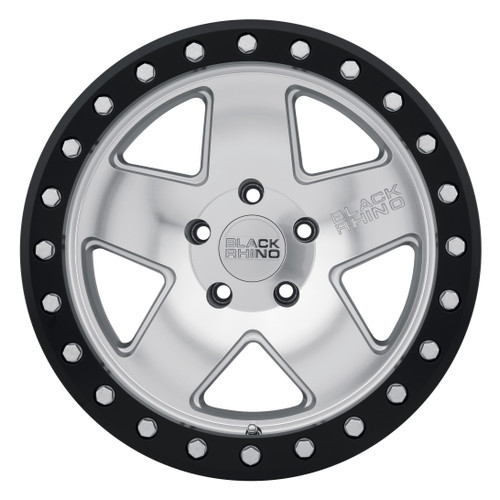 BLACK RHINO CRAWLER BEADLOCK 17x8.5 5/127 ET-32 CB71.6 SILVER W/MIRROR FACE AND BL