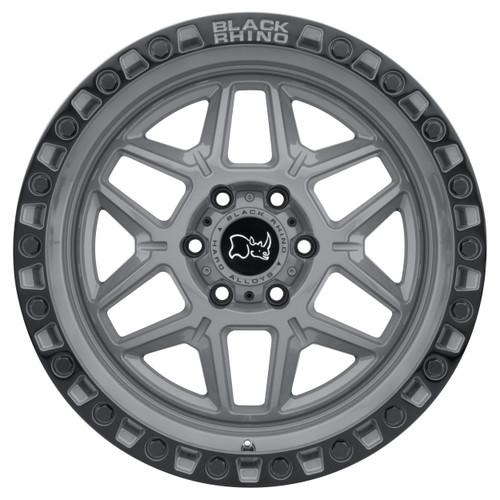 BLACK RHINO KELSO 17x9.0 5/114.3 ET-18 CB76.1 BATTLESHIP GRAY W/BLK LIP EDGE AND B