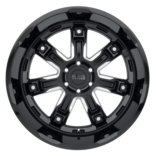 BLACK RHINO LOCKER 20x9.5 5/127 ET-18 CB71.6 GLOSS BLACK W/MILLED SPOKES