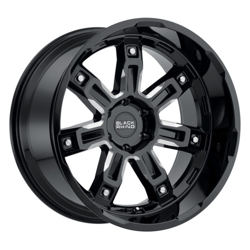 BLACK RHINO LOCKER 17x9.5 5/139.7 ET00 CB78.1 GLOSS BLACK W/MILLED SPOKES
