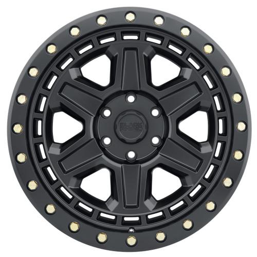 BLACK RHINO RENO 17x9.0 5/114.3 ET-18 CB71.6 MATTE BLACK W/BRASS BOLTS
