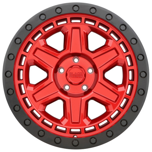 BLACK RHINO RENO 17x9.0 5/127 ET00 CB71.6 CANDY RED W/BLACK LIP EDGE AND BLACK BOL