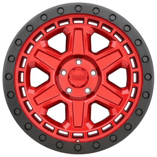 BLACK RHINO RENO 18x9.5 5/127 ET00 CB71.6 CANDY RED W/BLACK LIP EDGE AND BLACK BOL
