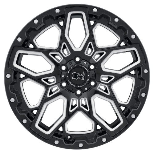 BLACK RHINO SHRAPNEL 18x9.5 5/127 ET-18 CB71.6 GLOSS BLACK W/MILLED SPOKES