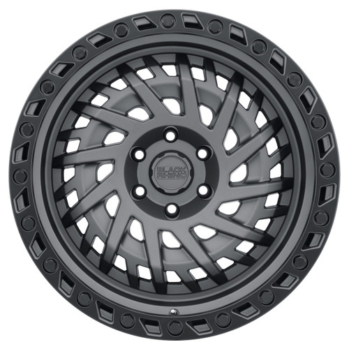 BLACK RHINO SHREDDER 18x9.5 5/127 ET-18 CB71.6 MATTE GUNMETAL W/BLACK LIP EDGE AND