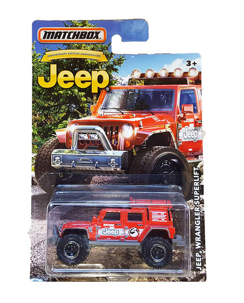 MATCHBOX LIMITED EDITION JEEP JKU ANNIVERSARY RED JEEP WRANGLER SUPERLIFT DIE-CAST