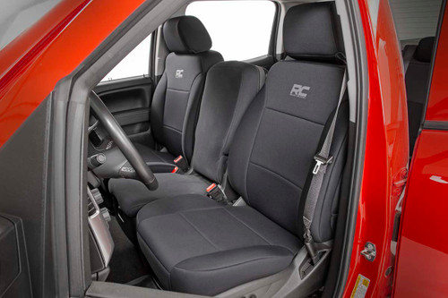 Chevy Neoprene Front & Rear Seat Covers | Black [14-18 Silverado 1500]