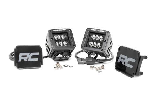 2-inch Square Cree LED Lights - Pair | Black Series, Spot Beam)
