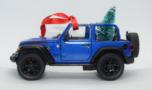 Jeep JL Wrangler Blue Rubicon Ornament with Tree