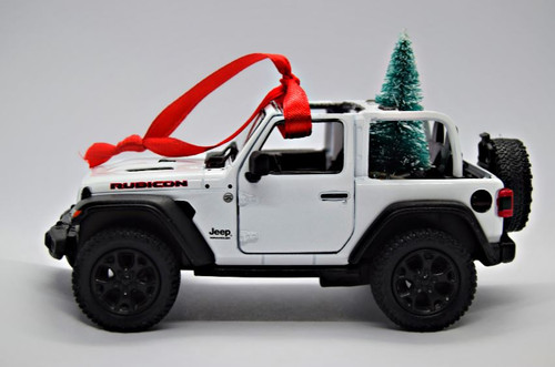 Rubicon White Jeep Wrangler JL Christmas Ornament