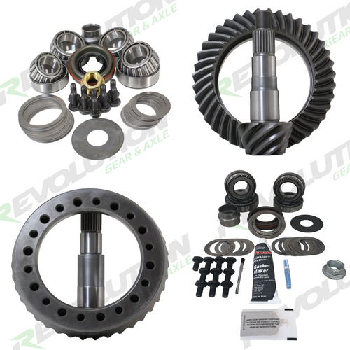 JK Non-Rubicon 4.56 Ratio Gear Package (D44-D30) with Koyo Bearings (Front Carrier Required When Upgrading From Factory 3.21  Ratio Only) Revolution Gear and Axle