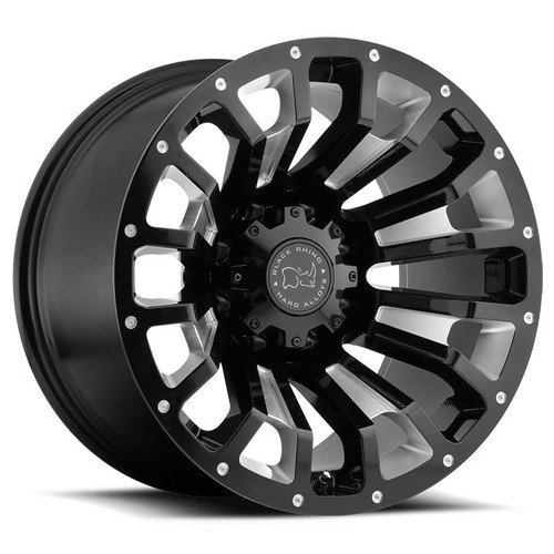 "BLACK RHINO® - PINATUBO Gloss Black with Milled Spokes (17"" x 9.5"", +6 Offset, 8x180 Bolt Pattern, 125.1mm Hub)"