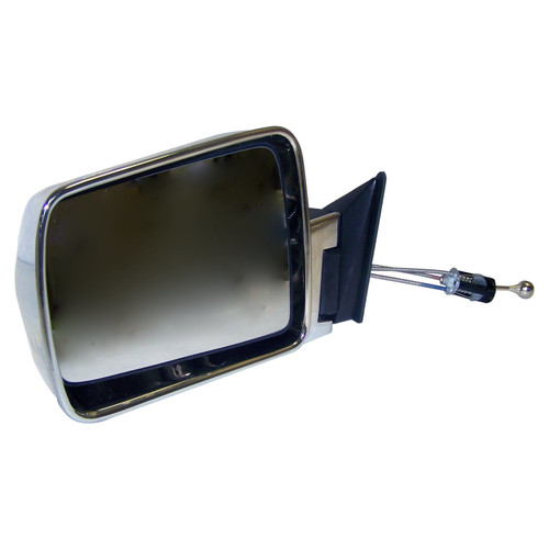 Left Chrome Manual Remote Folding Mirror for 84-96 Jeep XJ Cherokee, MJ Comanche