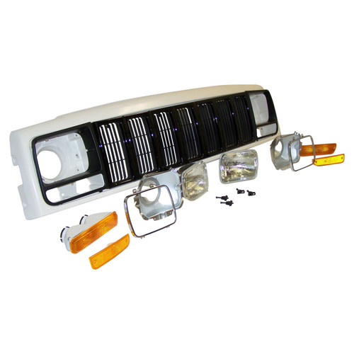 Header Panel Kit w/ Grille & Lights for 97-01 Jeep XJ Cherokee; US and Canada