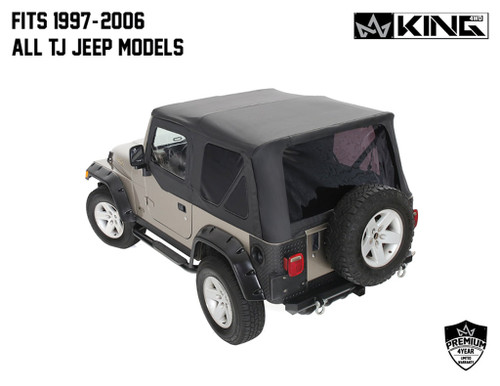 Jeep TJ Replacement Soft Top With Upper Doors For 97-06 Wrangler TJ Black Diamond King 4WD