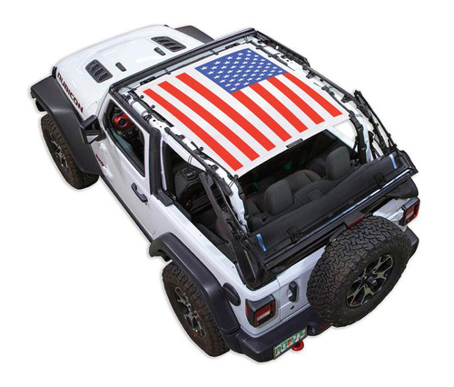 SpiderWeb Shade Jeep JL2D SOLID RED, WHITE, AND BLUE FLAG