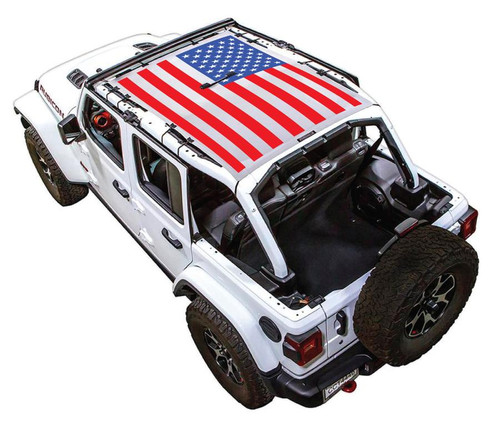 SpiderWeb Shade Jeep JL4D SOLID RED, WHITE, AND BLUE FLAG