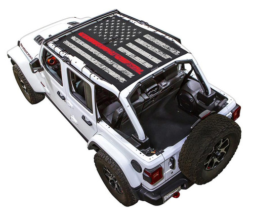 SpiderWeb Shade Jeep JL4D TACTICAL FLAG DISTRESSED THIN RED LINE