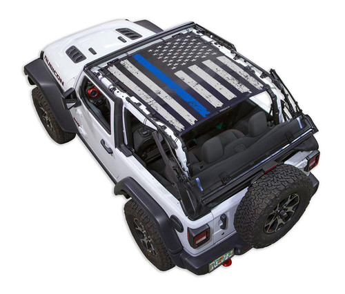 SpiderWeb Shade Jeep JL2D TACTICAL FLAG DISTRESSED THIN BLUE LINE