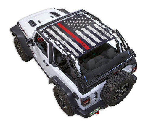 SpiderWeb Shade Jeep JL2D TACTICAL FLAG DISTRESSED THIN RED LINE