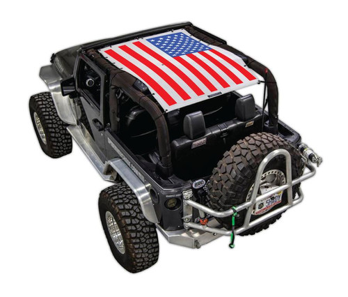SpiderWeb Shade Jeep JK-2D SOLID RED, WHITE, AND BLUE FLAG
