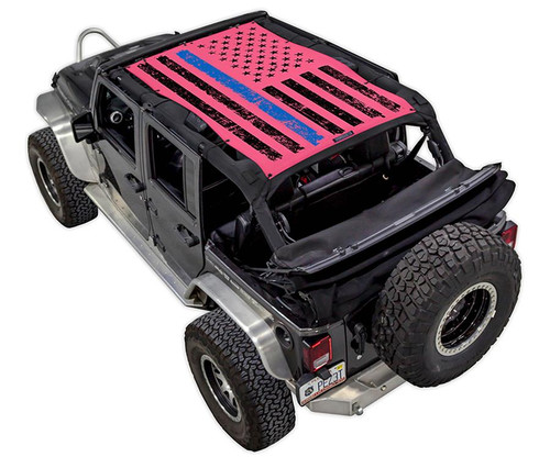 SpiderWeb Shade Jeep JK-4D TACTICAL FLAG DISTRESSED THIN BLUE LINE