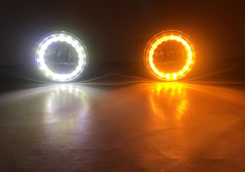 Jeep JK/CJ/TJ 4 Inch Fog Lights w/White DRL Halo and Amber Turn Signals Quake LED