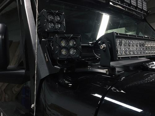 Jeep Wrangler JL/Gladiator JT Dual Pods, 52 Inch Roof Light Bar, 42 Inch Cowl Light Bar A-Pillar Brackets Quake LED