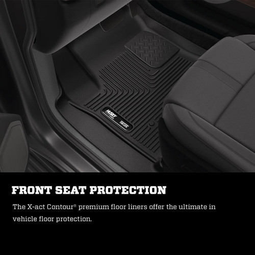 X-ACT Contour Front And 2nd Seat Floor Liners 02-18 Dodge Ram 1500/2500/3500 Quad Cab  Black Husky Liners