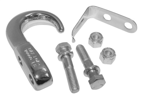 Chrome Tow Hook Kit for 1955-86 Jeep CJ-5, CJ-6, CJ-7, CJ-8; Incl. Hardware