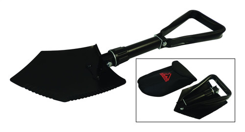 """Tri-Fold Shovel, Collapses from 23"""" to 9""""; Black Power Coat; Incls. Storage Bag"""