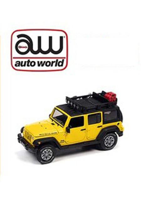 Auto World 1:64 Custom 2018 Jeep Wrangler Rubicon Unlimited Yellow Roof Rack