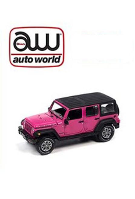 Auto World 1:64 Custom 2018 Jeep Wrangler Rubicon Unlimited 4x4 Pink