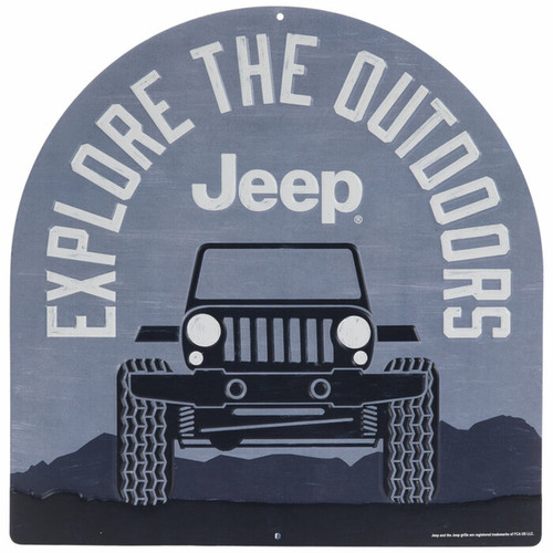Explore The Outdoors Jeep Metal Sign