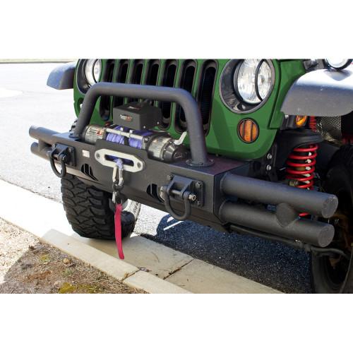 XHD Bumper Tubular End Kit, Front, Black; 07-18 Wrangler JK/JKU